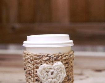 SALE Coffee Cozy 26 COLORS to choose from! -  crochet/heart/red/blue/cream/white/reusable/ecofriendly/sleeve
