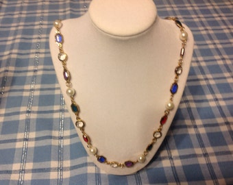 Vintage Necklace with Colorful Glass Beads and Pearls