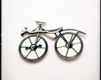 Year of the Horse Horscycle Horse/Bicycle Hybrid Magnetic Brooch - Wearable Horscycle Horse/Bicycle Hybrid Black and White Illustration Pin