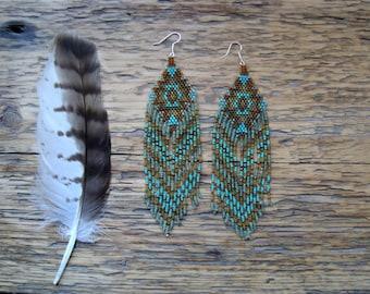 Vetiver...Long Beaded Fringe Earrings Native American Inspired