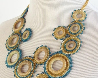 Modern Pale Yellow and Turquoise Beadwoven Efflorescence Bib Style Necklace
