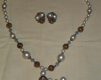 Gorgeous Vintage 1940s Faux Pearl Necklace and Earrings Set with Gold and Blue Accents - Costume Piece