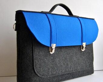 Laptop bag 15 MacBook Pro, felt laptop bag ,with a pocket ,gray with blue, Common Laptop Bag 15 briefcase