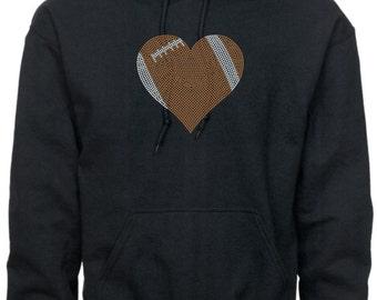 Football Mom Hoodie/ Football Mom Sweatshirt/ Football Mom Gift/ Football Girlfriend/ Rhinestone Large Football Heart Hoodie Sweatshirt
