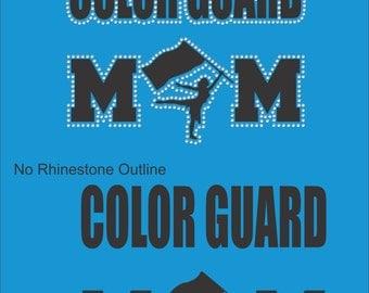 Color Guard Mom T Shirt/ Color Guard Mom Shirt/ Color Guard Mom/ Vinyl Rhinestone Color Guard Mom Short Sleeve T-Shirt Many Colors
