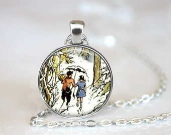 """Narnia, The Lion The Witch and The Wardrobe, Lucy and Tumnus Necklace, 24"""" chain."""