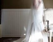 Extra Wide Sheer Drop Wedding Veil (Cathedral Veil, Illusion Bridal Veil, Blusher, Raw Edge Veil, Drape Veil, Long Veil, Waltz, Chapel)