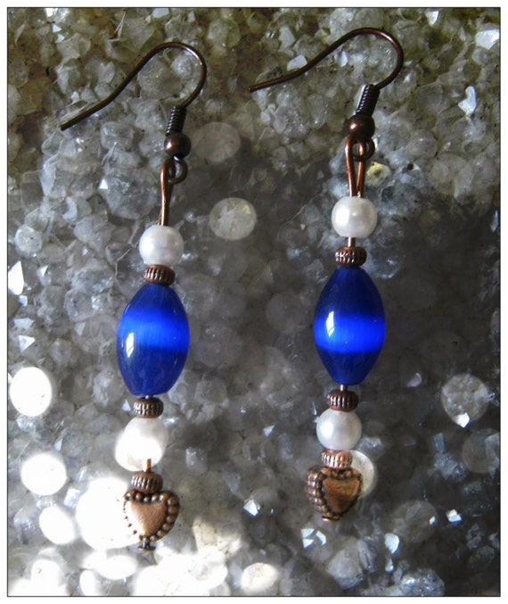 Handmade Copper Earrings with Blue Opal, Pearl & Heart by IreneDesign2011