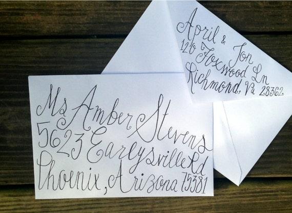 Items Similar To Handwritten Wedding Invitation Envelopes