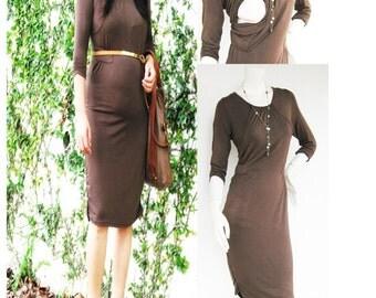 SANDRA Maternity Dress / Nursing Dress Breastfeeding Dress/ Nursing Clothes / NEW Maternity Dresses / MOCHA / Maternity Clothing Pregnancy