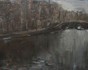 Herengracht - Amsterdam's landscape - original oil painting on canvas