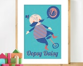 Retro Nursery Poster, 'Oopsy Daisy' Mid Century Modern inspired Art, Scandinavian illustration in blue and peach