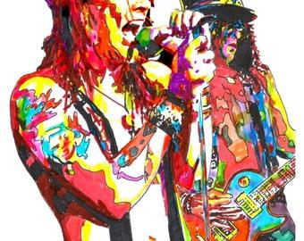 "Axl Rose, Slash, Guns N' Roses, Singer, Guitar Player, Hard Rock, POSTER from Original Dwg 18"" x 24"" Signed/Dated by Artist w/COA"