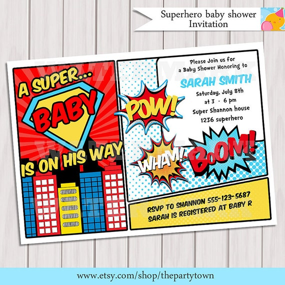 Effortless image with free printable superhero baby shower invitations