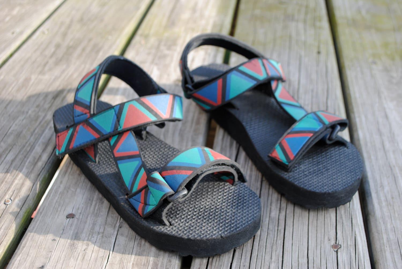 90s Black Velcro Sandals Aztec Color Straps Flat Low