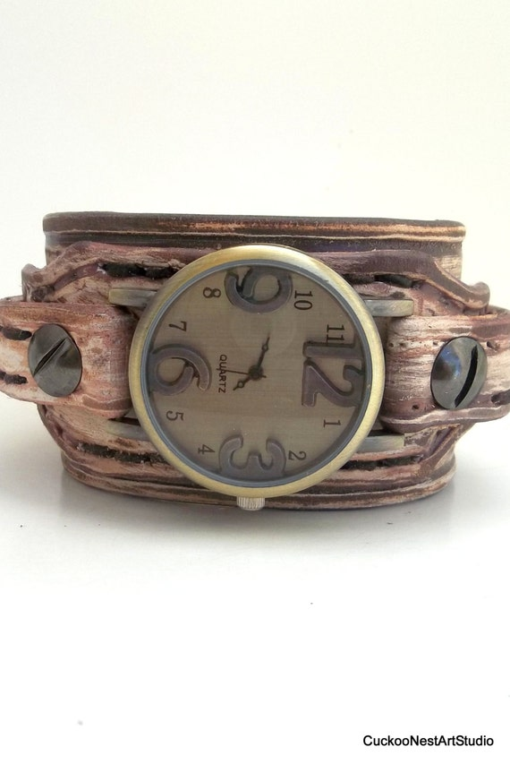 womens leather cuff distressed brown leather wrist