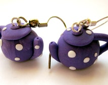 Purple Polymer Clay Teapot Earrings, Purple Teapot, Clay Teapot Jewellery, Purple Tea Jewellery, Polymer Clay Tea Jewelry, Teapot Earrings