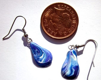Blue Polymer Clay Pear Drop Earrings, Blue Earrings, Marble Earrings,  Blue Polymer Clay Jewellery, Pear Drop Earrings, Polymer Clay Jewelry