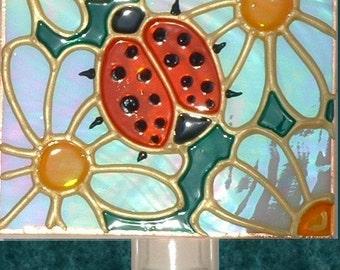 Ladybug Night Light Wall, Art Unique Artistic Decorative Night Lights Plug in Stained Glass Ladybug Kitchen Decor Ladybug Nursery Nightlight