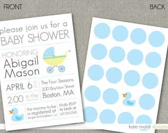 Baby Shower Invitation  - Customized - Printable - Double-Sided - Polka Dots - Duck - Baby Carriage - Modern