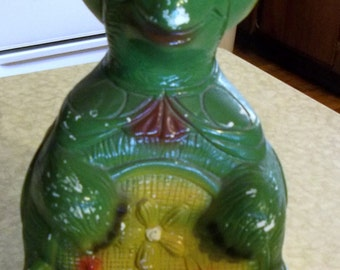 "Colorful Happy ""Tommy the Turtle"" Chalkware Bank"