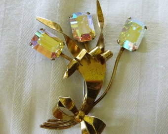 1940s sterling Retro floral and bow brooch with prismatic rectangular rhinestones