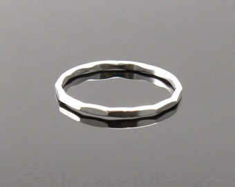 Thick Argentium Silver Hammered Stacking Ring, Long Faceted ring (16 gauge)