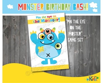 "Instant Download ""Pin the eye on the monster!"" game set for Monster Birthday party, Monster Baby Shower, Monster party, Monster games"