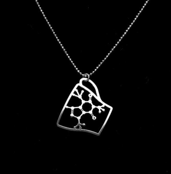 Caffeine Molecule necklace-  Silver Coffee Cup pendant