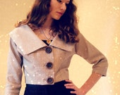 1950's Handmade Cropped Silk Jacket with 3/4 Sleeves & Portrait Collar