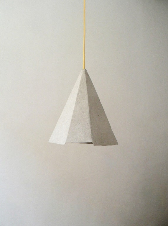 Paper Mache Lamp Topaz Lamp Hanging Lamp Pendant By CreaReDesign
