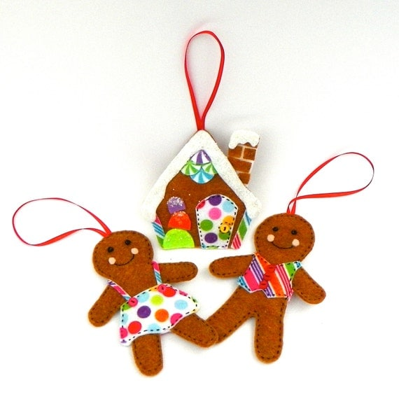 Felt Gingerbread Christmas Tree Ornaments Set Of 3 By