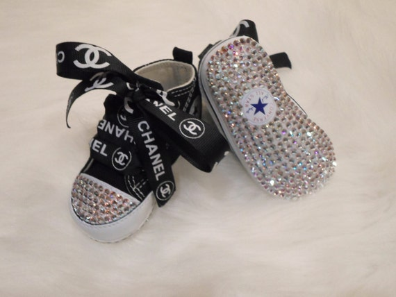 Baby Black Converse crib shoes Swarovski Crystals Bling