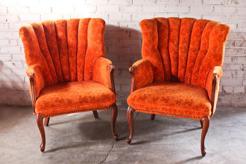Pair Vintage Antique Orange Floral Accent Chair