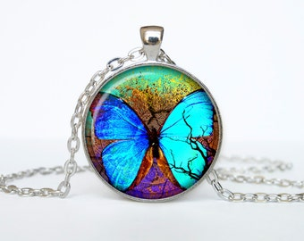 Butterfly pendant Butterfly necklace Butterfly jewelry aqua turquoise
