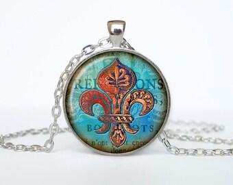 Fleur de lis jewelry Fleur de lis necklace Fleur de lis pendant heraldy jewelry royal heraldic sign