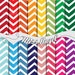 """Chevron Digital Papers. Zigzag Pattern wrapping paper. Bright Colours. 16 Digital Paper Pack. 12""""X 12"""" Chevron Sheets. MissAngelClipArt"""