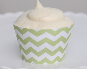 INSTANT DOWNLOAD – Printable Pastel Green Chevron Cupcake Wrapper – Printable Cupcake Wrappers