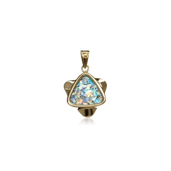 Star of David Pendant in Roman Glass  and 14k Yellow Gold