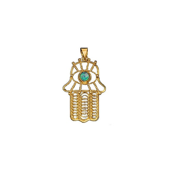 Yemenite Hamsa Pendant with Roman Glass