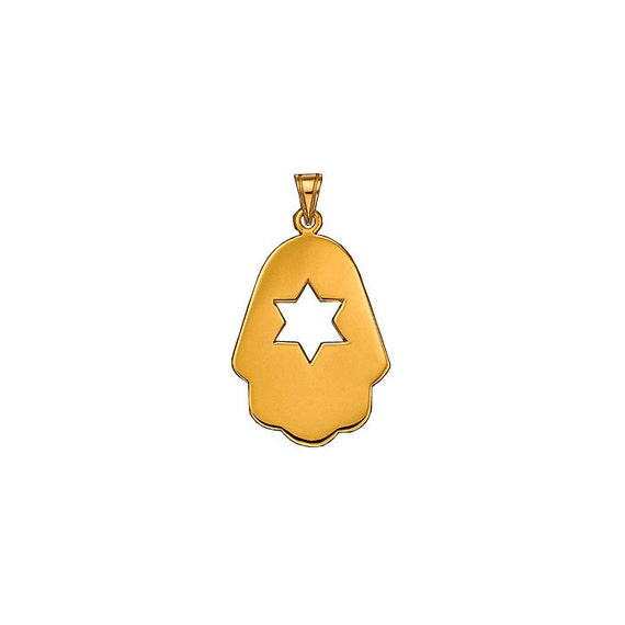 Modern Star of David Pendant in Polished Yellow Gold