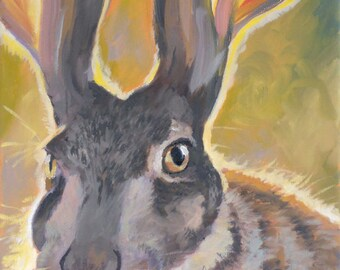 """Spirit Animal, Hare, 8"""" x 10"""", oil painting,  Limited Edition Giclee Print"""