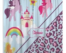 Kids Window Curtains, Nursery Window Treatments, Cheetah Print Curtains, Horse Curtains, Purple Curtain #9