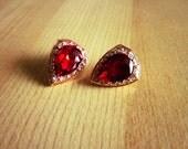 FREE SHIPPING*  Vintage Red Water Drop Faux Ruby Earrings Stud
