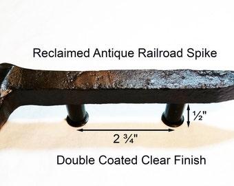 "2 3/4"" Left Sealed Railroad Spike Cupboard Handle Dresser Drawer Pull Cabinet Knob Antique Vintage Old Rustic Re-purposed House Restoration"