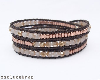 Brown cream crystal wrap bracelet with copper plated brass beads on polyester cord, brown wrap bracelet, triple