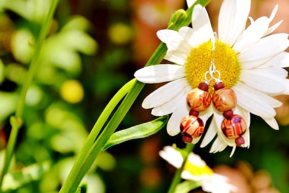 Rustic Handpainted Wood Bead Drop Earrings- Tribal Handpainted Wooden Bead Dangle Earrings