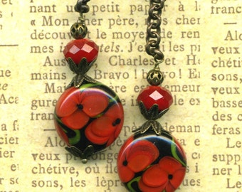 POPPY Artisan Lampwork, Chinese Crystal, and Antiqued Brass
