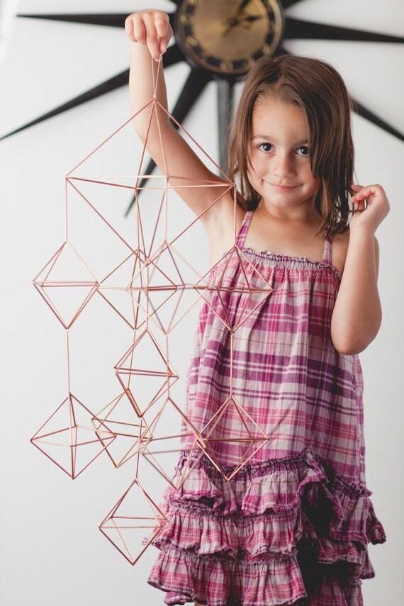 Himmeli Figure 2 || The Cascading Diamonds || Modern Minimalist Geometric Hanging Ornament, Mobile, and Air Plant Holder