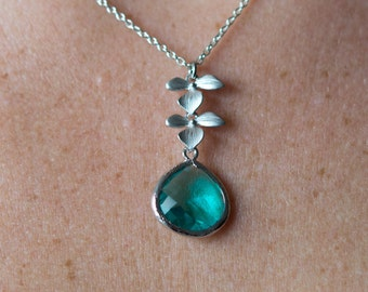 Flower Pendant with Blue Zircon Crystal, Leaf Necklace, Wedding Jewelry, Bridesmaid Jewelry, Everyday Necklace